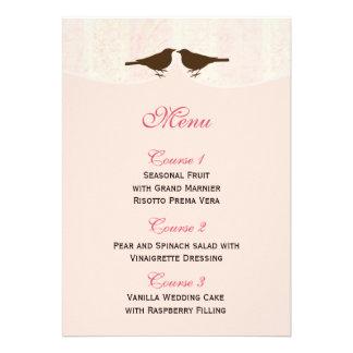 Jaula de pájaros rosada elegante tarjetas del men comunicado personal