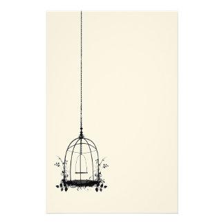 Jaula de pájaros rústica del vintage papeleria personalizada