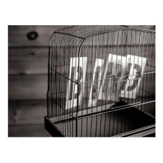 Jaula de pájaros vacía tarjeta postal