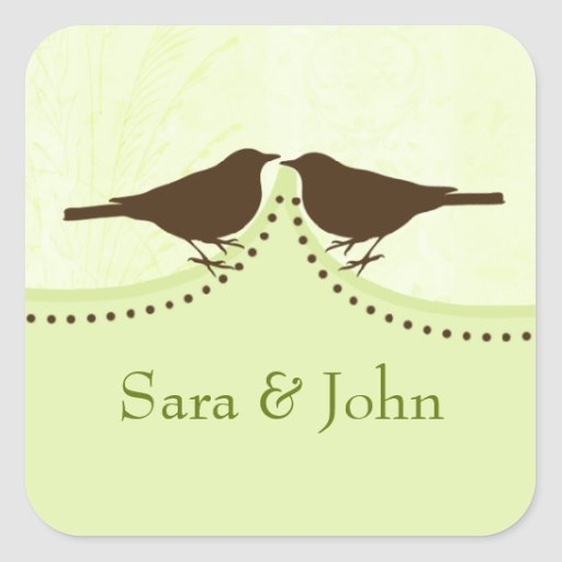 Jaula de pájaros verde elegante, sello del sobre d calcomanía cuadradas personalizada
