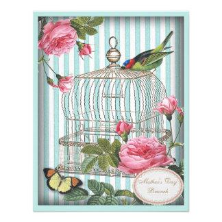 Jaula de pájaros y rosas del vintage del brunch de comunicado