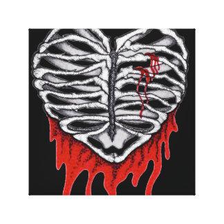 Jaula del corazón sangrante impresión en lienzo estirada