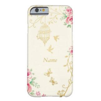 Jaula del oro y floral subió vintage funda barely there iPhone 6