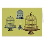 Jaulas de pájaros del vintage felicitación
