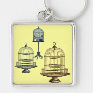 Jaulas de pájaros del vintage llavero cuadrado plateado