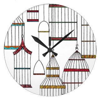 Jaulas de pájaros retras reloj redondo grande