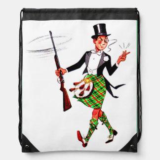 jaunty Scotsman with rifle Drawstring Bag