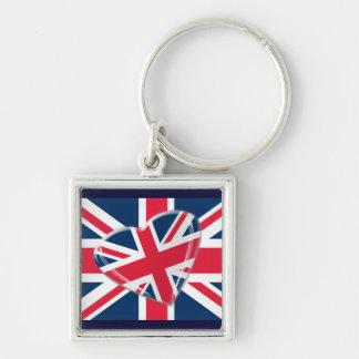 Jaunty Union Jack Flag and Heart Art Keychain