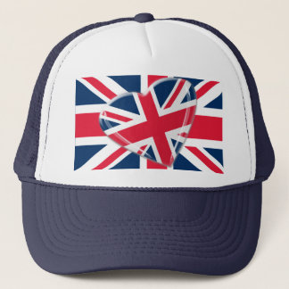 Jaunty Union Jack Flag and Heart Art Trucker Hat