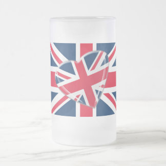 Jaunty Union Jack Heart and Flag Art Frosted Glass Beer Mug