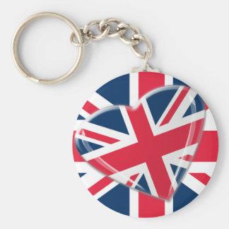 Jaunty Union Jack Heart and Flag Art Key Chains