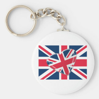 Jaunty Union Jack Heart and Flag Art Key Chain