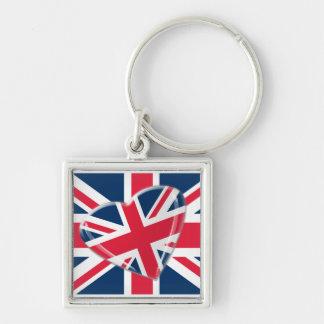Jaunty Union Jack Heart and Flag Art keychain
