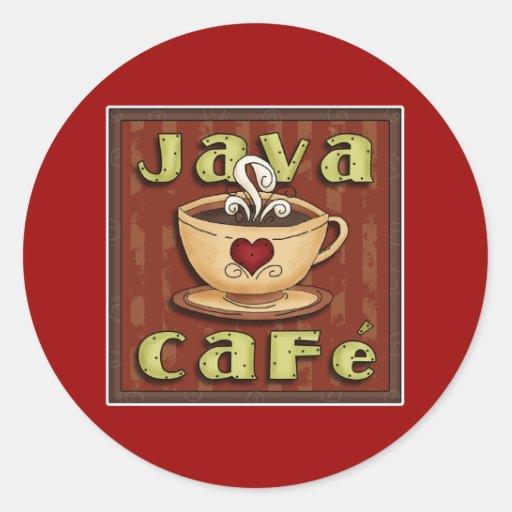 java cafe round stickers