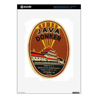 Java Donker vintage beer label Decal For iPad 3