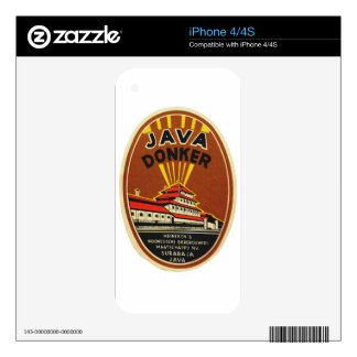 Java Donker vintage beer label Decals For The iPhone 4S