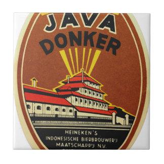 Java Donker vintage beer label Tile