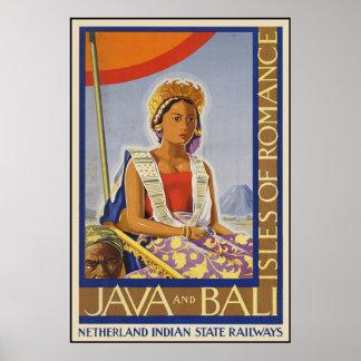 Java e islas de Bali del romance Póster