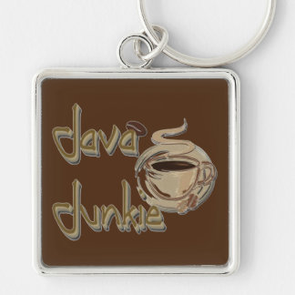 Java Junkie Coffee Lovers Key Chain Silver-Colored Square Keychain