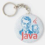 Java Programmer Basic Round Button Keychain