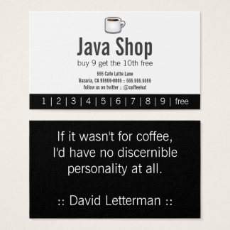 Java Shop Drink Punch Card