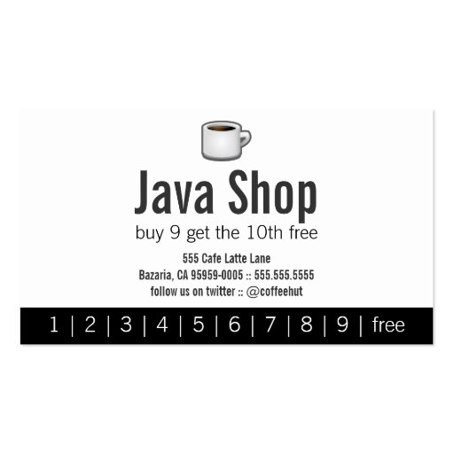 Java Shop Drink Punch Card Business Cards