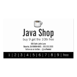 Java Shop Drink Punch Card Double-Sided Standard Business Cards (Pack Of 100)