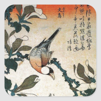 Java Sparrow and Kobushi Magnolia (by Hokusai) Square Sticker