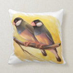 Java Sparrow Finches Realistic Painting Pillow
