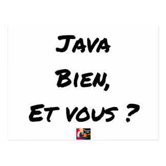 JAVA WELL, AND YOU? - Word games Postcard