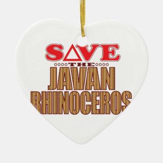 Javan Rhino Save Ceramic Ornament