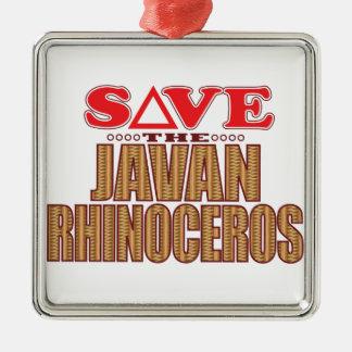 Javan Rhino Save Metal Ornament