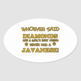 Javanese cat designs oval stickers