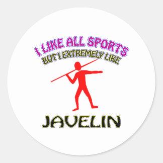 Javelin designs round stickers