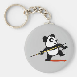 Basic Button Keychain with Cute Javelin Panda design