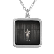 Javelin Throw; Cool Silver Plated Necklace