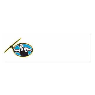 Javelin Throw Track and Field Athlete Double-Sided Mini Business Cards (Pack Of 20)