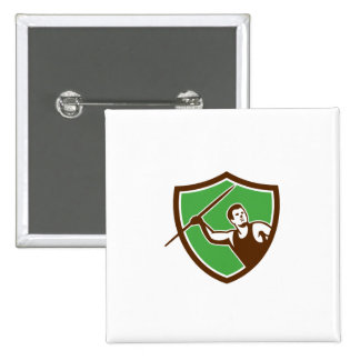 Javelin Throw Track and Field Athlete Shield Button