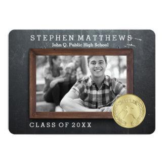 Javelin Thrower Chalkboard Photo Graduation 5x7 Paper Invitation Card