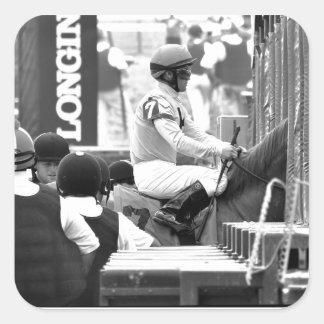 """Javier Castellano """"Leading Rider at Saratoga"""" Square Sticker"""
