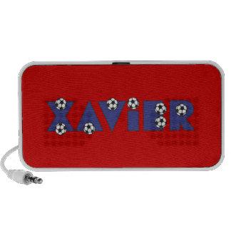Javier en azul del fútbol iPod altavoces