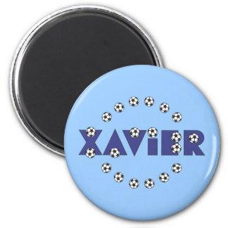 Javier en azul del fútbol imán redondo 5 cm