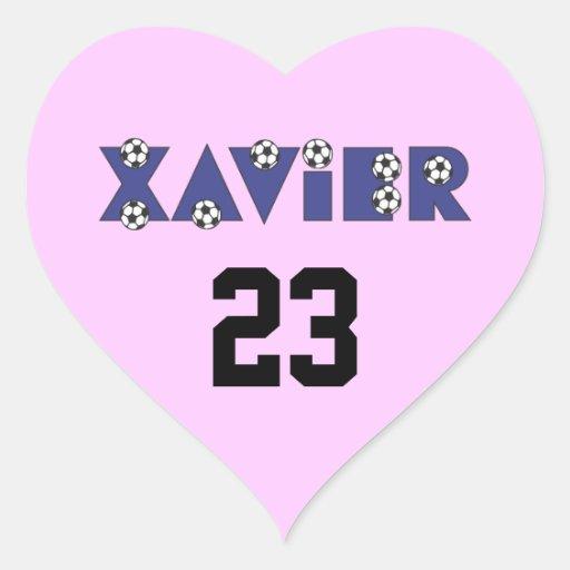 Javier en azul del fútbol pegatinas corazon personalizadas