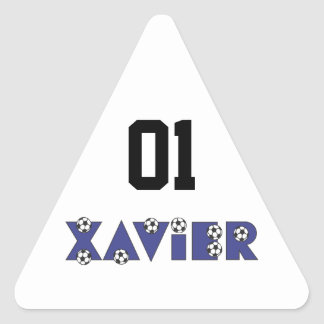 Javier en azul del fútbol pegatina triangular
