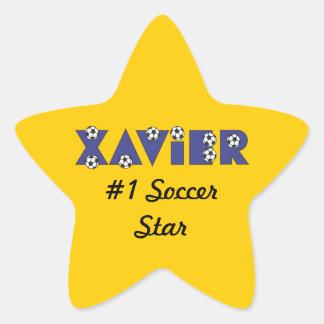 Javier en azul del fútbol pegatina en forma de estrella