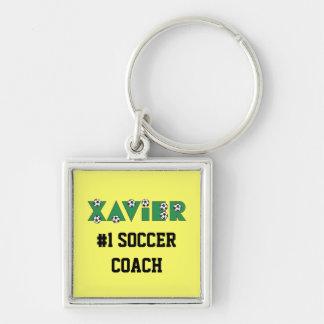 Javier en verde del fútbol llavero cuadrado plateado