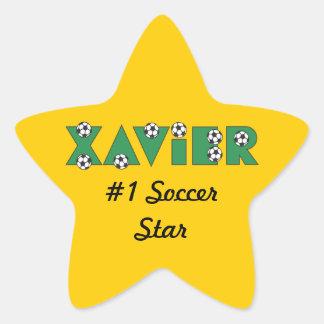 Javier en verde del fútbol pegatina en forma de estrella