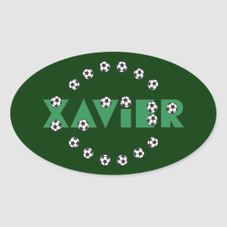 Javier en verde del fútbol pegatina ovalada