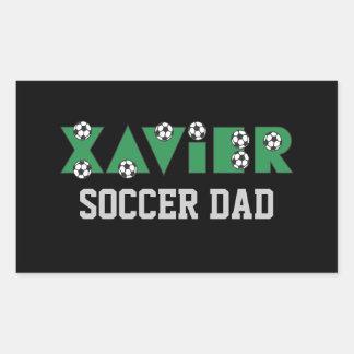 Javier en verde del fútbol pegatina rectangular