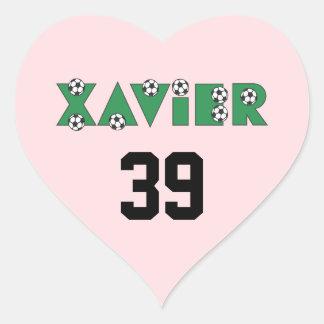 Javier en verde del fútbol pegatina en forma de corazón